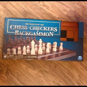 ♟🎁Chess, Checkers & Backgammon New In Box Game♟
